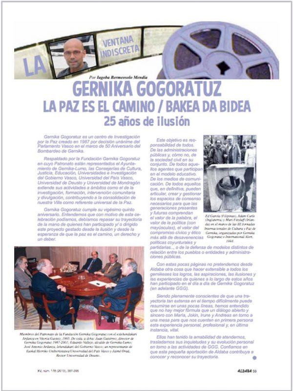 La paz es el camino/ Bakea da bidea. 25 años de ilusión. Revista Aldaba. XV, num. 178