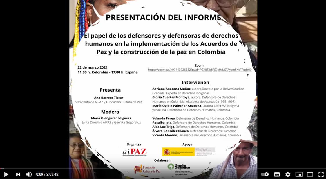 Presentación del informe el papel de las personas defensoras en la construcción de paz en Colombia