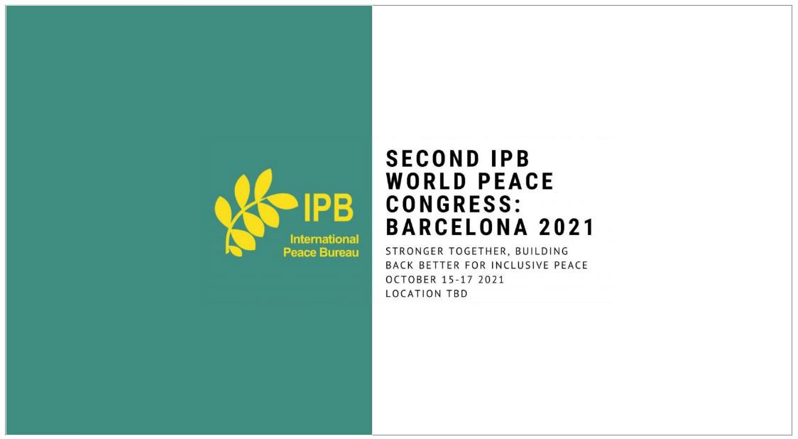 Segundo Congreso Mundial de la Paz IPB. Barcelona 2021