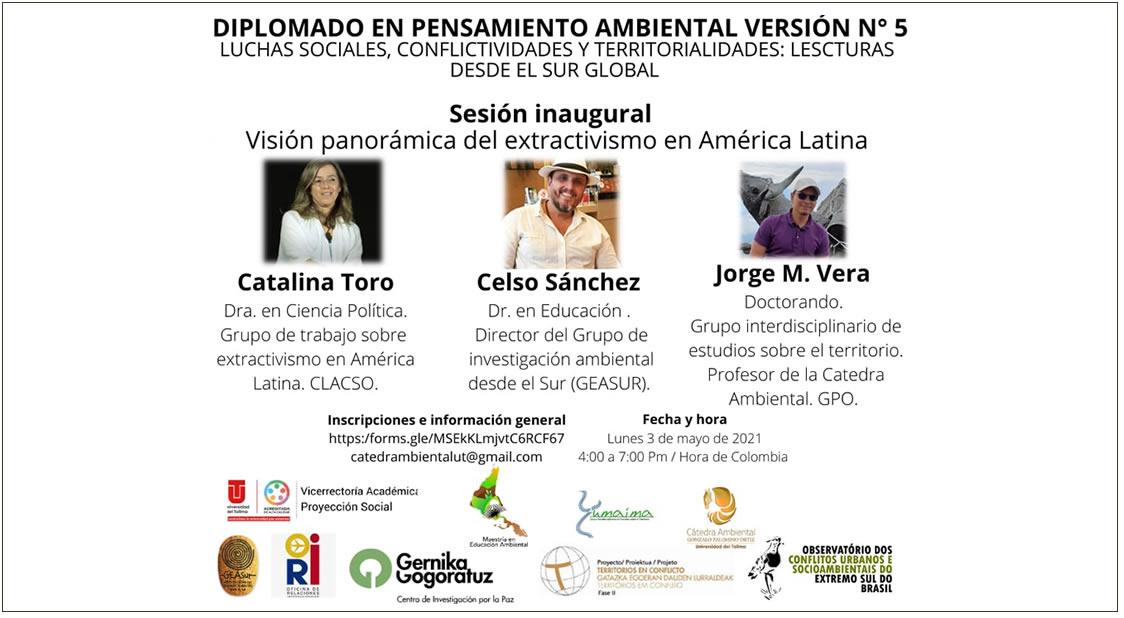 programa del V Diplomado Internacional en Pensamiento Ambiental – Luchas Sociales, Conflictividades y Territorialidades: Lecturas desde el Sur Global